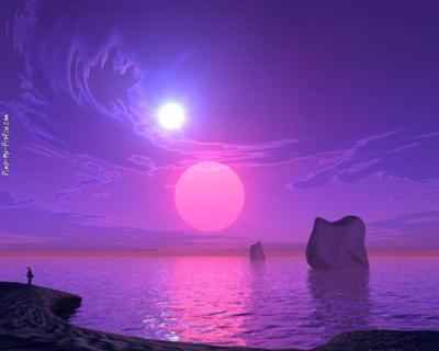 Purple Fantasy World Facebook Timline Cover Background